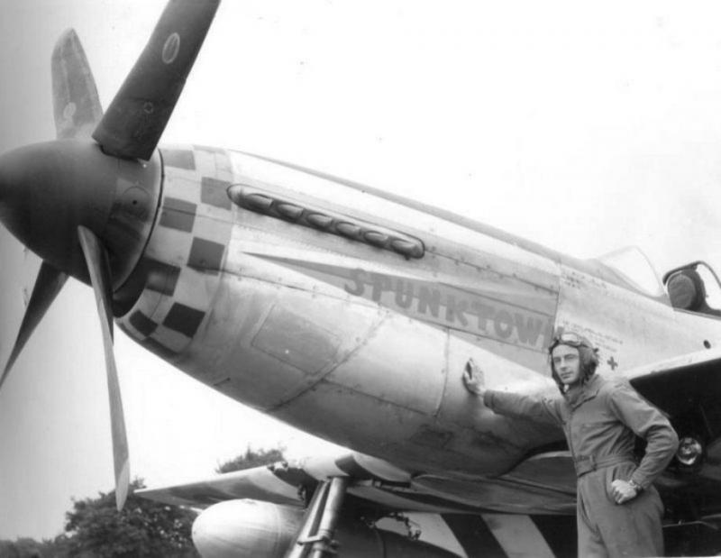 """Capt. Earl R Fryer, 38th Fighter Squadron. P-51D 44-13804 CG-Z """"Spunktown"""". Named for his hometown, Boyertown, PA (known then as Spunktown) This a/c was shared with Lt. Kenneth I Crawford who named it """"Arabel"""" which was painted on the right side in similar style. Capt Fryer was killed in action whilst flying this a/c 8 November 1944. Lt. Crawford had previously been KIA on 11 September 1944 whilst flying Lt. Clifton's 44-13723 CG-T """"One Musthang""""."""