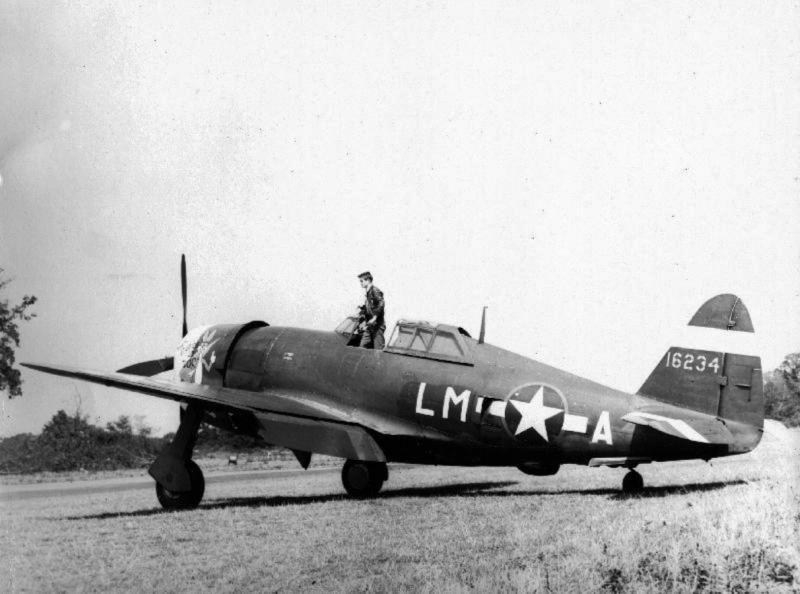 """Lt. John P """"Pope"""" Bryant, [Glendale, CA]. 62nd Fighter Squadron. P-47C 41-6234 LM-A """"Thumbs Up Doc"""" (L) Sugar Baby (R). This a/c suffered a taxi accident on 8 September 1943 and was transferred to 495th FTG on repair."""