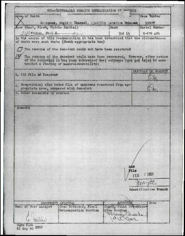 Individual Deceased Personnel File (IDPF) for Second Lieutenant Paul K Fabian of the 390th Bomb Group, researched by historian Bill Beigel. The file contains copies of primary documents that discuss the return of personal effects, circumstances and causes of death, and memorialisation of the fallen airman.