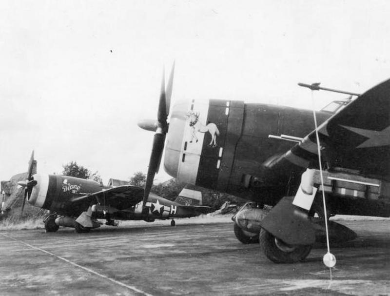 In the foreground, the Republic P-47D-5-RE