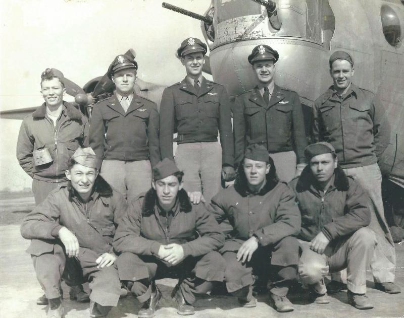 Crew #772 Robert E. Gordon Crew 466th BG - 787th BS  Standing Left to Right:  Marvin Hendrickson (BTG), Robert E. Gordon (P), Otis K. Tichenor (M), William F. Reiger (CP), Doyle R. Campbell (NG)  Kneeling Left to Right:  Charles J. Ondes (TTG), Lane Arrington (TG), Leroy M. Zach (R/O), George W. Perry (FE)  This crew completed 29 combat missions before hostilities ended.