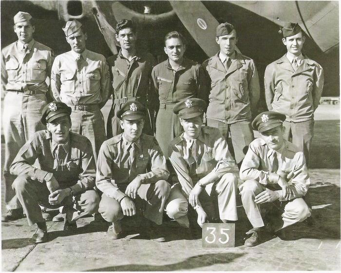Back Row - Left to Right Sgt. John Hill; T/Sgt. Ro Grandquist, Radio Operator; T/Sgt. Matthew Kryjack; T/Sgt. Abe Homar; T/Sgt. John Guros; Sgt. Omar Sharp   Front Row - Left to Right 1st Lt. Ehud Merkel, Co-pilot; 1st Lt. Harold White, Bombardier; 1st Lt. Frank Kolts, Pilot; 1st Lt. Reed Alexander, Navigator  Photo contributed by George & Evelyn Mankel  Paper Dolly Factoid - Paper Dolly was shot down 22 Feb 1944 1400 hours on their 16th mission. Their target was Oschersleben, Germany. The plane went down at Kurkenbruch, Germany.  KIAs:Harold White (buried in Margraten Cemetery, Holland); Frank Kolts (buried in Rosecrans Cemetery, San Diego, CA); Reed Alexander (buried in Margraten Cemetery, Holland).  POWs: Ehud Merkel, John Hill, Ro Grandquest, Matthew Kryjack, Abe Homar, John Guros, Omar Sharp    Added by: Nathan E. Wood 8/27/2013