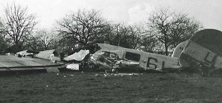 B-24J-160-CO #44-40357  Code:  6L-U 466th BG - 787th BS Crashed near Sibbe, Netherlands12 March 1945 after losing 3 engines and forcing the Charles Felts Crew to bail out.    Before the mission the squadron commander had driven up in a jeep and jokingly said to Felts