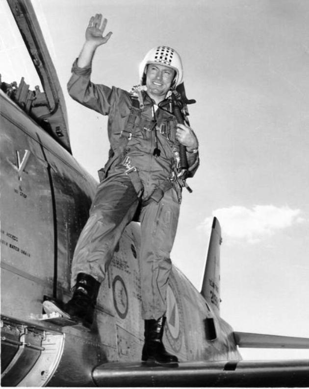 Major John Leroy Anthony 79FS, 20FG, 8AF. Post war, killed when his North American Aviation F-86H-1-NA Sabre, 52-1998 which he had flown to a record speed two days before, flew apart with him on a subsequent record chasing flight 5th Sept 1954,