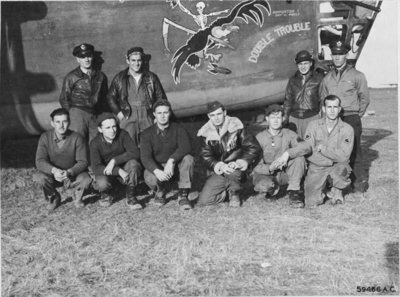 Consolidated B-24D Liberator 41-23672 'Double Trouble' 328th BS, 93rd BG, 8th AF.   NARA Ref 3A45218-3A46062.  Rear L-R:  2nd Lt Gerald G Gray, 2nd Lt Frank T Lewis, Lt Bernard Abels and Capt Benjamin F Riggs. Front L-R: S/Sgt Edwin J Malloy, S/Sgt George R Creadon, T/Sgt Stephen V Meddling, S/Sgt Michael J Reilly, T/Sgt Marlin E Staller and S/Sgt Harry Cottingham.