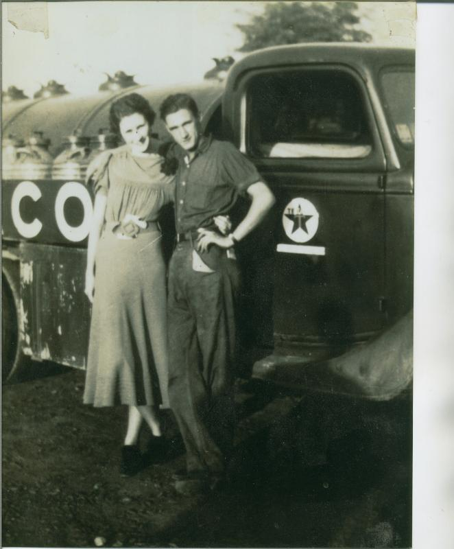 Widow of Sergeant LeRoy Edgar Aulthouse; Esther Willard (Billie) Aulthouse & her brother Grover Price Prillaman.