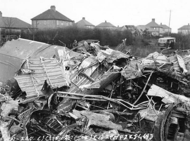 B-24H 41-28669 Crashed after take off hitting the roof of 6 Berkley Close, Hellesdon, Norwich and coming down in the garden.