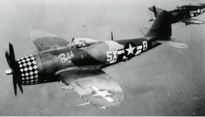 The pilot of a 352nd Fighter Squadron, 353rd Fighter Group P-47 Thunderbolt (SX-B, serial number 42-26459) nicknamed