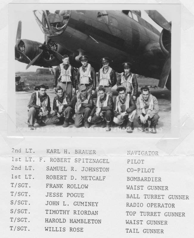 Lt. Frank Robert Spitznagel and crew. 364th Squadron, 305th BG. Assembled  June 18, 1943 in front of their B-17 #42-29633, nicknamed
