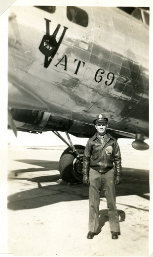 Lt. John W. Rice was a Pilot with the 600th Squadron, based at Nuthampstead. He is pictured here in front of B-17