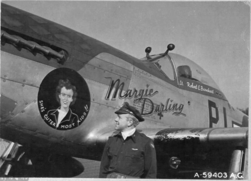 Capt Robert E Barnhart of the 360th Ftr Sq, 356th FG with his assigned P-51D 44-15189
