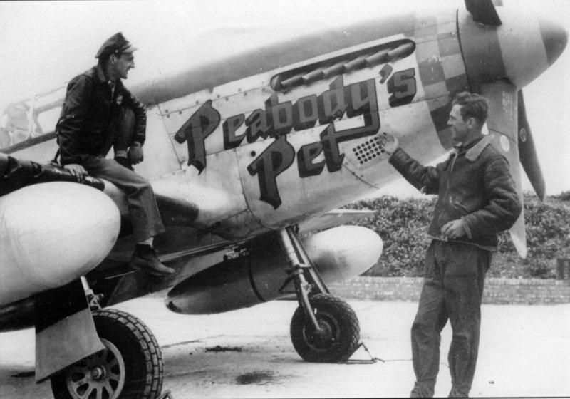 """Lt. Walter [NMI] Baron,[ N. Grosvenor Dale, CT], 364th Fighter Squadron. P-51B 42-106854 C5-B """"Peabody's Pet"""". This a/c became lost on 25 August 1944 when Lt. Baron became interned in Sweden. Lt Walter Baron on the wing and Crew Chief Dick Eagan standing."""