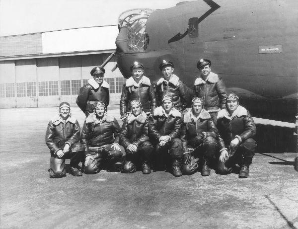 Crew #454 Addison Manning Crew 466th BG - 784th bS  Standing: Left to Right;  Loren Roush, Addison Manning, Frank Harmon, Charley Good  Kneeling: Left to Right;  Peter Skoll, Al Jacobs, Bill Brown, Henry Simon, Julius Gavin, Hayden Stone  This crew flew at least 2 lead crew missions with the 466th BG after transferring into the group from the 467th BG.  They were probably only with the 466th BG for lead crew training.