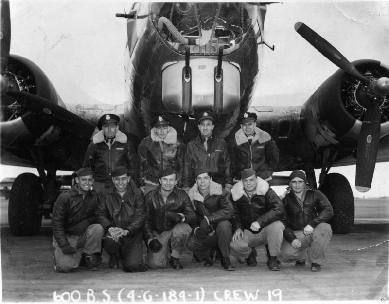 Isaac Alhadeff's Crew. Back row: (L-R) 2nd Lt. Paul Foster-Bombardier, 2nd Lt. John Sigsworth-Co-pilot, 1st Lt. Isaac Alhadeff-Pilot, 2nd Lt. Clarence Evans-Navigator. Front row: (L-R) S/Sgt. Dave Walker-Tail Gunner, M/Sgt. Martin Chavez-Engineer/Top Turret, Sgt. Jack Hill-Gunner, S/Sgt. Tudor Melville- Waist Gunner, T/Sgt. Orville