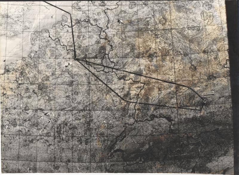Harold Motz Mission Map for 8th Air Force Mission 466 (447th Bomb Group Mission 106) to Munich, July 11, 1944  Original map now in the collection of the Museum of the US Air Force, Dayton, Ohio.