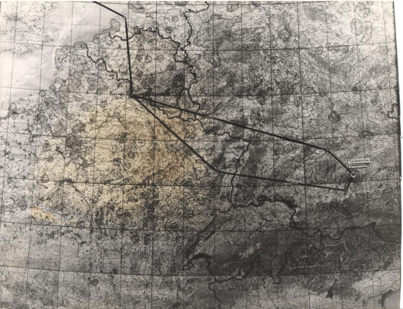 Mission map for Harold Motz, navigator for the Westrope crew; 708th Squadron, 447th Bomb Group for 8th Air Force Mission 469 (447th Mission 107) to Munich, July 12, 1944  Original map now in the collection of the Museum of the US Air Force, Dayton, Ohio.