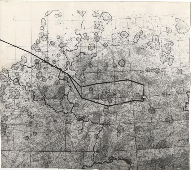 Mission map for 8th Air Force mission 482 to Ebelsbach-Schweinfurt on July 19, 1944 from Harold Motz, navigator in the Westrope crew, 708th squadron, 447th bomb group  Original map now in the collection of the Museum of the US Air Force, Dayton, Ohio.