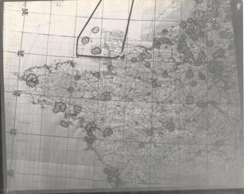 Mission Map for 8th Air Force mission #492, St. Lo, on July 24, 1944, from Harold Motz, navigator on the Westrope crew, 708th Squadron, 447th bomb group. Harold's notes on the back of this map describe the mission as