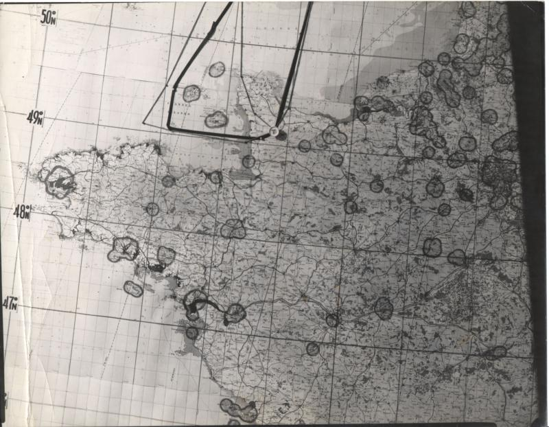 Mission map for 8th Air Force mission #494, July 25, 1944 to St. Lo, from Harold Motz, navigator on the Westrope crew, 708th squadron, 447th bomb group. Note that on this map, the dark line is the route for the mission of the previous day (#492), while the light pencil line is for the mission of July 25.  Original map now in the collection of the Museum of the US Air Force, Dayton, Ohio.