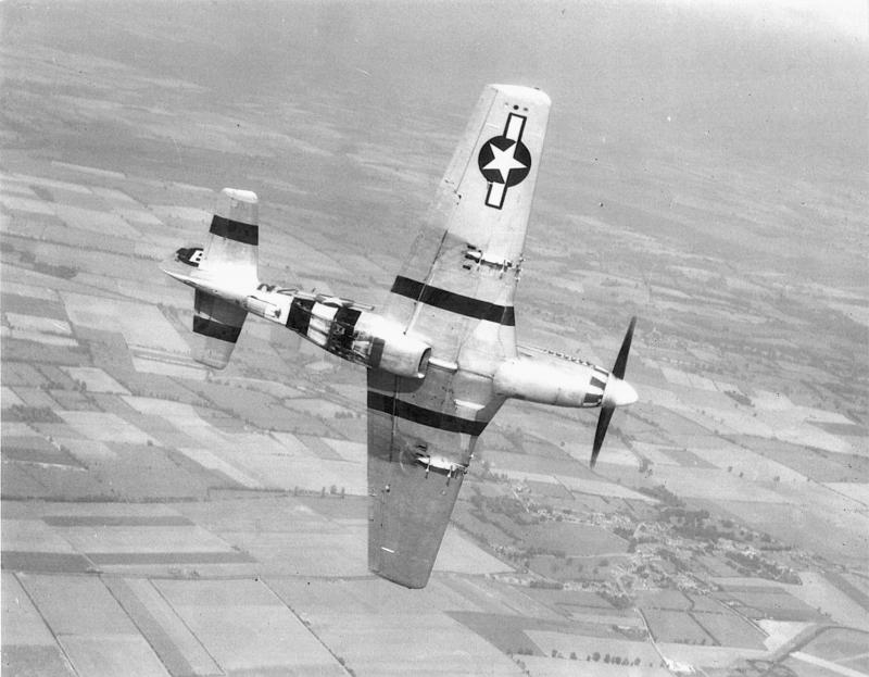 Gordon Mc Coy of the 383rd FS over Honington, England on completion of his combat tour flying P-51D 44-14013 N2+B 'Beau's Baby'.