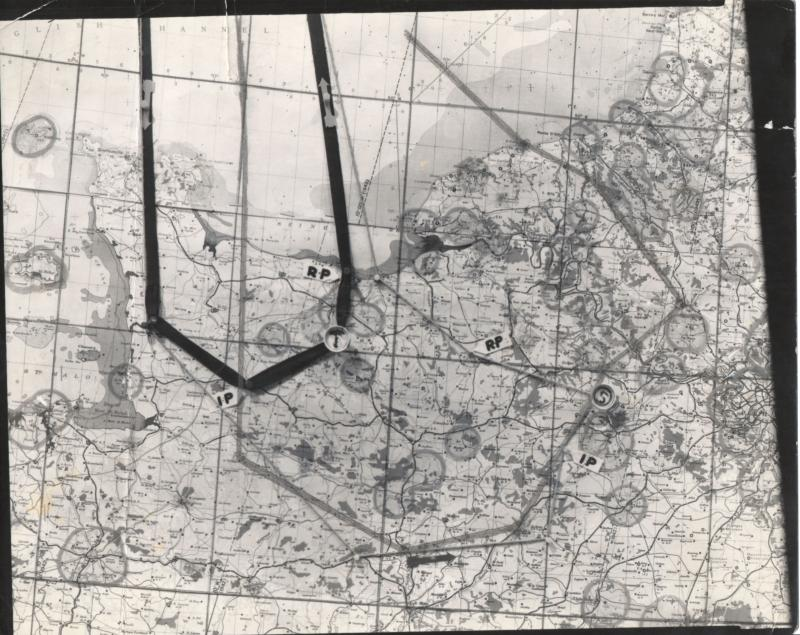 Map of 8th Air Force mission #548 on August 13, 1944. Light penciled line is the actual route. From the estate of Harold Motz, navigator on the Westrope crew, 708th squadron, 447th bomb group. Harold's notes describe the target as tactical communications in the Seine river area.  Original map now in the collection of the Museum of the US Air Force, Dayton, Ohio.