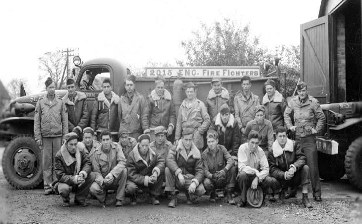The 2015th Engineer Aviation Fire Fighting Platoon pictured at Nuthampstead Airbase, #131, 31 Oct 44 . Photo courtesy of the 398th Bomb Group Website