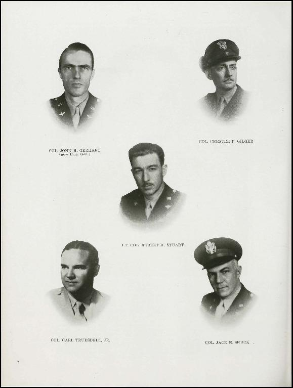Page 32 of the 95th Bomb Group unit history. Many of the 8th Air Force Groups produced an unofficial unit history in the months after the war ended in Europe but before they were redeployed out of the ETO (European Theater of Operations). The 95th Bomb Group unit history was published by the Group's Photographic Section.   Resembling a college yearbook, unit histories were an unofficial – and often tongue-in-cheek – record of the unit's time based in the UK. They include photo montages showing different aspects of base life. Often the servicemen in the photos are unnamed. The American Air Museum hopes that by adding unit histories to the website as individual pages, the men in the photos will be identified and associated to their person entries. Many included lists of personnel and a mailing address, providing a means for servicemen to keep in contact with each other after the war. These lists are now incredibly useful records of where US airmen in England in 1945 called their home.