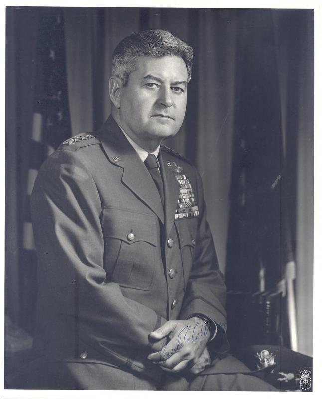 Signed photo of General Curtis E. LeMay, commander of the Bomb Division of the Eighth Air Force.