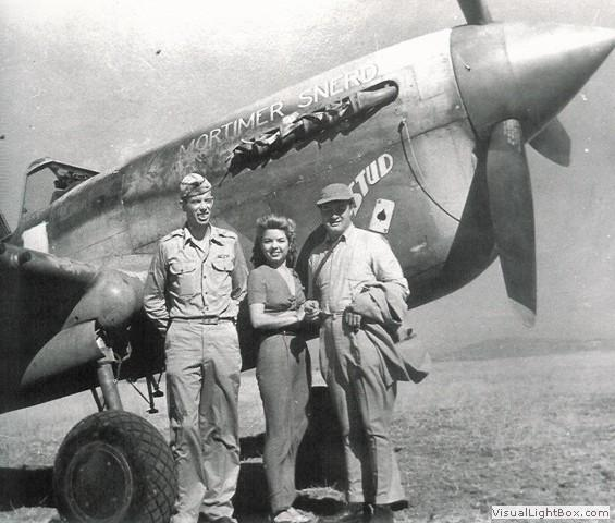 LTC Robert L. Baseler (CO of the 325th FG) with Francis Langford and Bob Hope. The aircraft is Baseler's P-40F-20-CU #41-20006