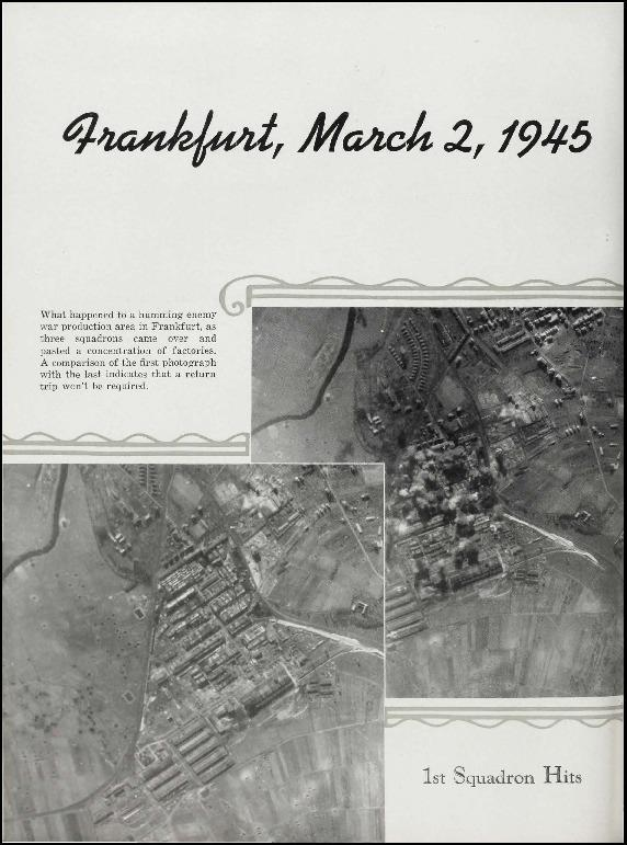Page 146 of the 95th Bomb Group unit history. Many of the 8th Air Force Groups produced an unofficial unit history in the months after the war ended in Europe but before they were redeployed out of the ETO (European Theater of Operations). The 95th Bomb Group unit history was published by the Group's Photographic Section.   Resembling a college yearbook, unit histories were an unofficial – and often tongue-in-cheek – record of the unit's time based in the UK. They include photo montages showing different aspects of base life. Often the servicemen in the photos are unnamed. The American Air Museum hopes that by adding unit histories to the website as individual pages, the men in the photos will be identified and associated to their person entries. Many included lists of personnel and a mailing address, providing a means for servicemen to keep in contact with each other after the war. These lists are now incredibly useful records of where US airmen in England in 1945 called their home.
