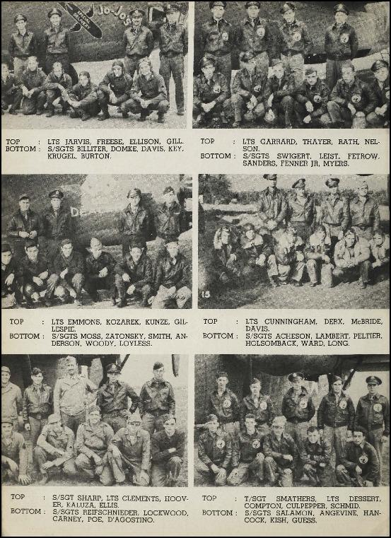 Page 15 of the 93rd Bomb Group unit history. Many of the 8th Air Force Groups produced an unofficial unit history in the months after the war ended in Europe but before they were redeployed out of the ETO (European Theater of Operations).   Resembling a college yearbook, unit histories were an unofficial – and often tongue-in-cheek – record of the unit's time based in the UK. They include photo montages showing different aspects of base life. Often the servicemen in the photos are unnamed. The American Air Museum hopes that by adding unit histories to the website as individual pages, the men in the photos will be identified and associated to their person entries. Many included lists of personnel and a mailing address, providing a means for servicemen to keep in contact with each other after the war. These lists are now incredibly useful records of where US airmen in England in 1945 called their home.