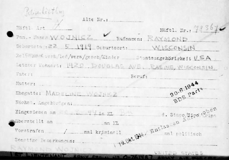 Raymond Wojnicz POW card - Prisoner No. 78367 at Buchenwald. Released from there on 19 October 1944.