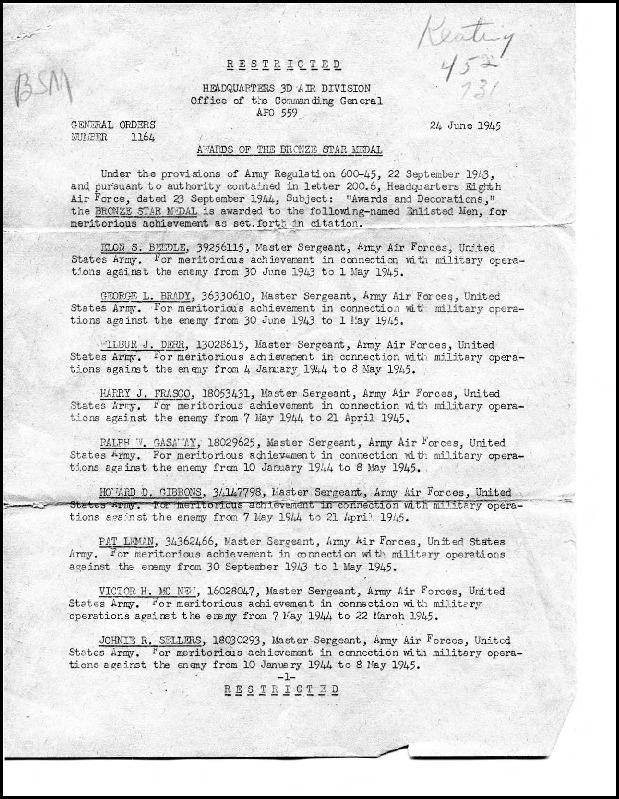 General Orders No. 1164, 24 June 1945 Awards of the Bronze Star Medal to ground crew