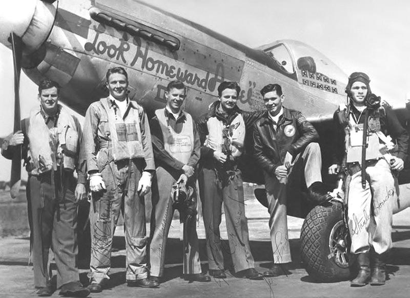 385th Squadron, 364th Fighter Group pilots pose in front of a P-51D, serial #44-15179, codded 5E-L,