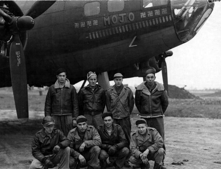 A bomber crew of the 379th Bomb Group with their B-17 Flying Fortress (serial number 42-29772, WA-R) nicknamed