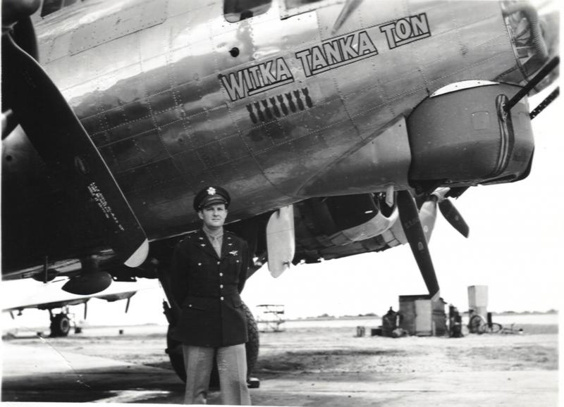 COL Frank P. Hunter, 398th Bomb Group commander, with B-17G-35-DL 'Witka Tanka Ton' 42-107138. COL Hunter flew this aircraft from Rapid City Army Air Base to England, leading deployment of his group to combat in 1944.