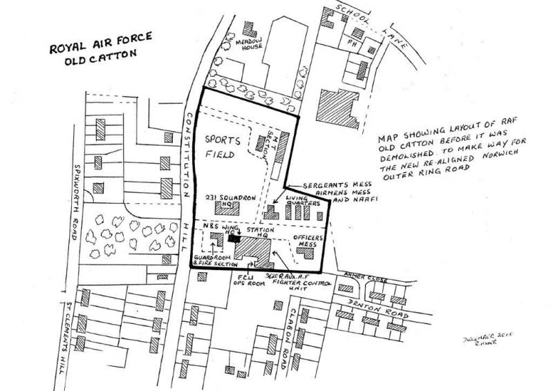 Plan of RAF Old Catton as it was before it closed in 1963, after which it was demolished.