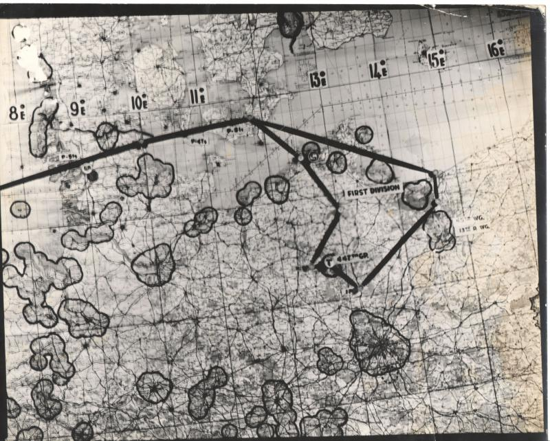 Map for 8th Air Force Mission #570 on August 25, 1944 to Rechlin. From the estate of Harold Motz, navigator on the Westrope crew of the 708th squadron, 447th Bomb Group. Harold's note on the back of the map gives the target as Neustrelitz.  Original map now in the collection of the Museum of the US Air Force, Dayton, Ohio.