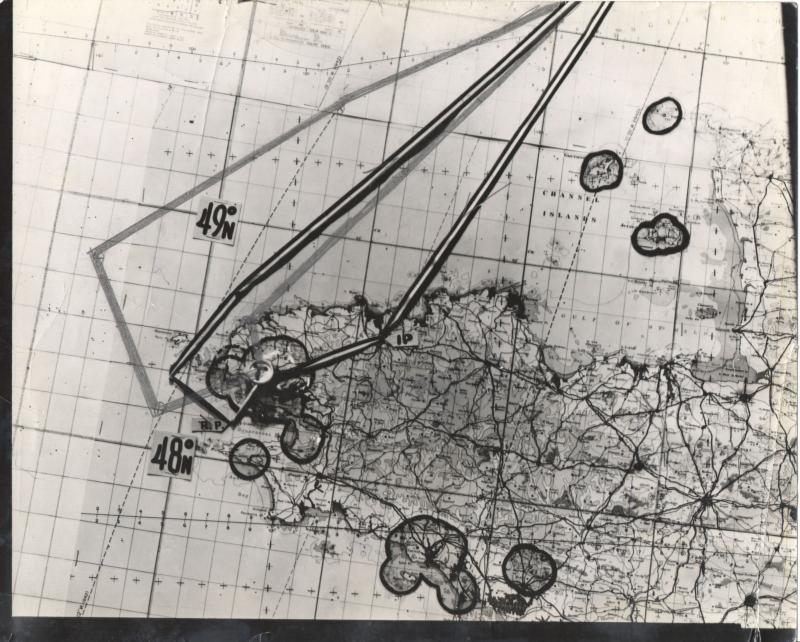 Map of 8th Air Force mission #575 to Brest, France on August 26, 1944. From the estate of Harold Motz, navigator on the Westrope crew of the 708th squadron, 447th Bomb Group. Dark line is the route for mission #575 on August 26, 1944; penciled line is the route for mission #606 on September 5, 1944  Original map now in the collection of the Museum of the US Air Force, Dayton, Ohio.