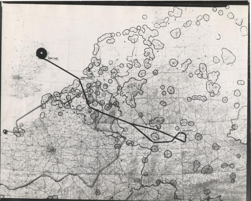Map of 8th Air Force mission #619 on September 10, 1944 to Giebelstadt; from the estate of Harold Motz, navigator on the Westrope crew in the 708th squadron, 447th bomb group