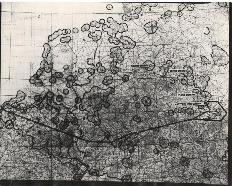Map of 8th air force mission #623 to Fulda, on September 11, 1944. From the estate of Harold Motz, navigator on the Westrope crew, 708th squadron, 447th bomb group. Harold's list of missions describe this as Fulda, but the note on the back of the map describes it as Bohlen.  Original map now in the collection of the Museum of the US Air Force, Dayton, Ohio.