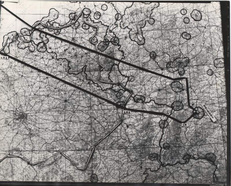 map for 8th Air Force mission #628 on September 13, 1944 to Stuttgart; from the estate of Harold Motz, navigator on the Westrope crew, 708th squadron, 447th bomb group  Original map now in the collection of the Museum of the US Air Force, Dayton, Ohio.