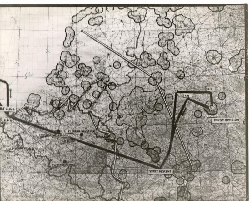 Map of Eighth Air Force mission #677 to Cologne on October 14, 1944. From the estate of Harold Motz, navigator on the Westrope crew, 708th squadron, 447th bomb group.  Original map now in the collection of the Museum of the US Air Force, Dayton, Ohio.