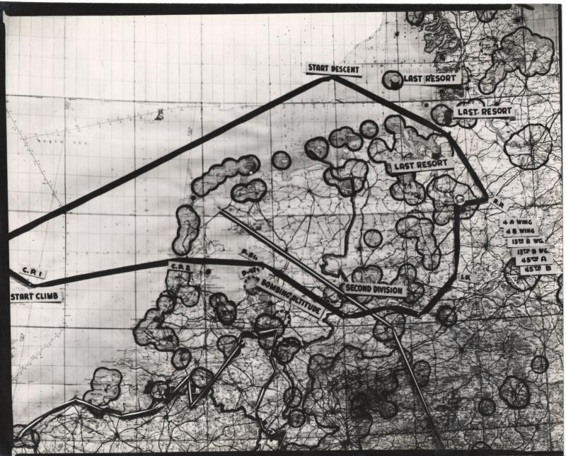 Map for 8th Air Force Mission #674 to Bremen on October 12, 1944. From the estate of Harold Motz, navigator on the Westrope crew, 708th squadron, 447th bomb group  Original map now in the collection of the Museum of the US Air Force, Dayton, Ohio.