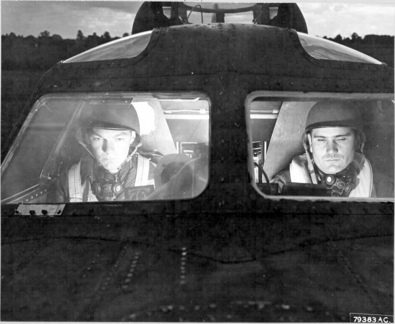 Co-Pilot 2nd Lt F N Dibble,[ Bronxville, NY ] and 1st Lt J M Smith, [ Austin, Texas ] at the controls of