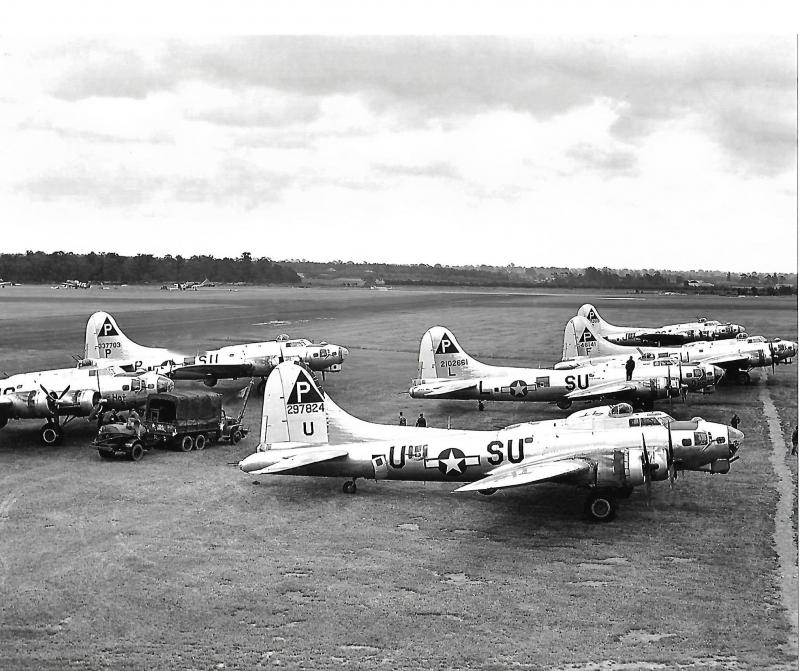 A group of 384th BG B-17's that have landed AWAY at the 56th FG base at Boxted, 28 June 1944 because of bad weather at Station 106.   Left group, front to rear:  B-17G-45-BO #42-97320