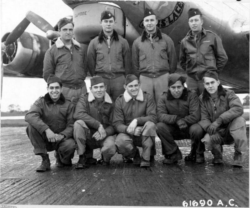 Capt Callahan and crew of the 303rd Bomb Group, based in England, pose beside Boeing B-17 Flying Fortress 42-102411