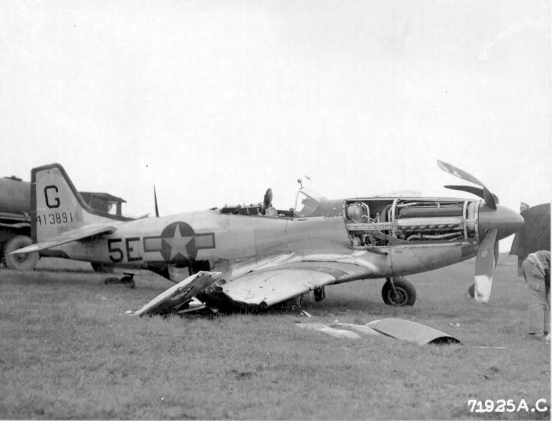 Wreckage of North American P-51D 44-13891 of the 364th Fighter Group base, 67th Fighter Wing at 8th Air Force Station F-375, Honington, England. 11 October 1944.  NAR Ref 342-FH-3A15508-71925AC.