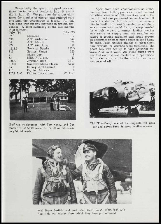 Page 54 of the 385th Bomb Group unit history. Many of the 8th Air Force Groups produced an unofficial unit history in the months after the war ended in Europe but before they were redeployed out of the ETO (European Theater of Operations).   Resembling a college yearbook, unit histories were an unofficial – and often tongue-in-cheek – record of the unit's time based in the UK. They include photo montages showing different aspects of base life. Often the servicemen in the photos are unnamed. The American Air Museum hopes that by adding unit histories to the website as individual pages, the men in the photos will be identified and associated to their person entries. Many included lists of personnel and a mailing address, providing a means for servicemen to keep in contact with each other after the war. These lists are now incredibly useful records of where US airmen in England in 1945 called their home.