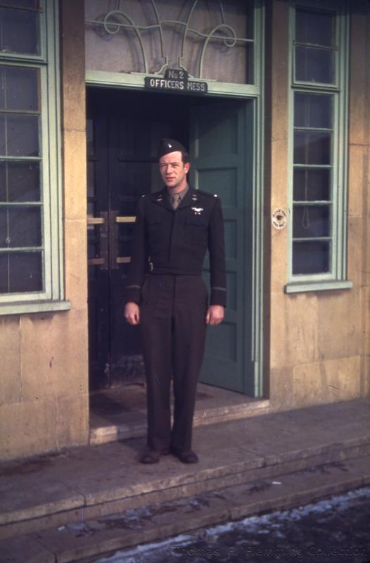 Lt Thomas F. Flemming of the 91st BG, 323rd BS in front of Officers Mess #2 at Bassingbourn in early 1945.
